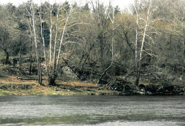 The south abutment, on the South Fork of the Shenandoah, is all that remains of the destroyed wartime bridge