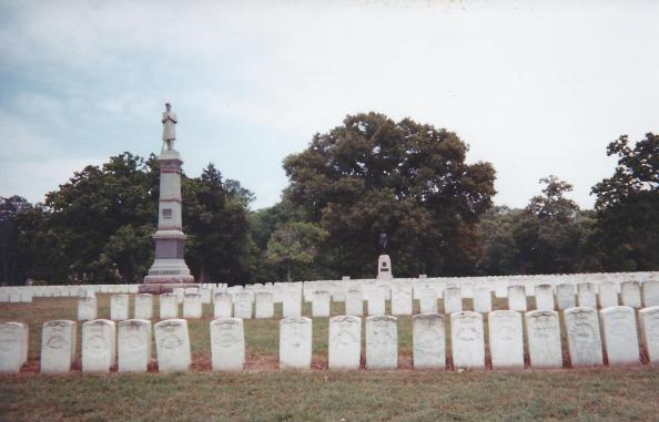 Looking toward the grave of James Draper Moore, in April, 1997. At the time, the headstone was marked with inaccurate descriptive information... wrong name and state, but correct grave number.