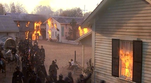 Hollywood's portrayal of the burning of Darien; also from the movie Glory.