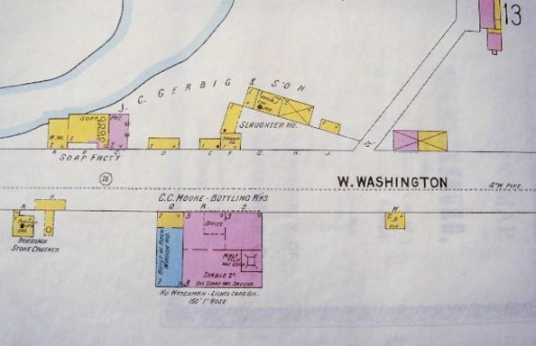 Location of C.C. Moore, Bottling Works, on W. Washington St., Chambersburg, Pa.