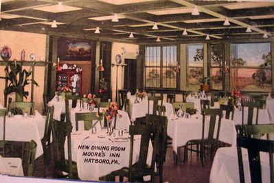 Dining room of Moore's Inn, ca. 1910.