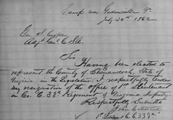 John Gatewood's resignation as 1st Lt. of the 33rd Virginia.